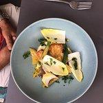 Kingfish macadamia, witlof, zucchini flower, beets, kumera, brown butter aioli, ginger dr
