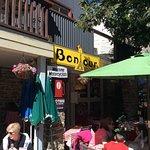 outside the cafe Bonjour