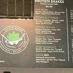 Protein Shake Menu