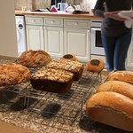 The bread we made (soda bread, rye bread, semi-white buns and a loaves).