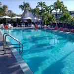 The large heated pool is also the breakfast area.
