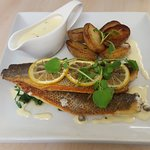 Beautifully cooked pan fried sea bass