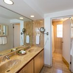 A glimpse of one of the bathrooms in a room