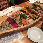 The sushi boat! Order before you get there,, its enormous!!