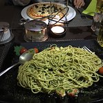 Super tasty Vegetarian food: Spagetti feta and Pizza margarita with olives (for children portion