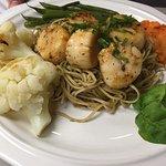 Wild Caught Scallops over Edamame Noodles & Veggies