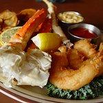 Seafood Platter: Shrimp, Alaskan King Crab, and Cod