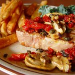 Ahi Tuna with Sun dried Tomato, Fresh Basil, and Mushrooms