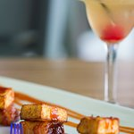 The applewood pork belly with cheese appetizer is exquisite.
