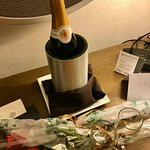 Complimentary Champagne & Rose to celebrate our Honeymoon