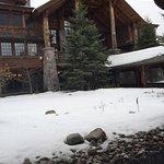 Our suite, lounge appetizer, lodge exterior