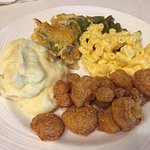 Southerners dream! Crunchy fried shrimp, Mac and cheese, squash casserole. Round 1!