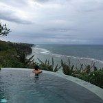 private pool of honeymoon bungalow. uninterrupted view of bingin beach