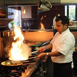 Master Chef Laxman creating fire in the curry - as you like it!
