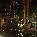 Beautiful lit pool at night