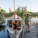 Steve and his boat, you can book a cruise on the Erie Canal