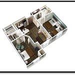 2-Bedroom 2-Bath Suite with Queen & Double Bedrooms