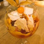 Dessert made for a gluten and dairy free diner. Marshmallow,homemade honeycomb,fruit,coolis-yum!