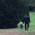 My husband and granddaughter enjoying the crunchy leaves