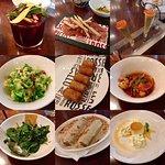 sangria, jamon, salmon tartare, brussel sprout salad, croquettes, shrimp, spinach, canelones, fl