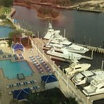 View from the 10th floor overlooking the pool and marina