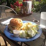 Mahi sandwich and caesar salad outrside seating