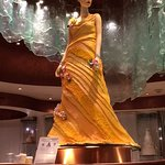 The sculpture of a lady out of chocolate