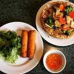 Veggie spring rolls #62 paired with a veggie chow mein #65.