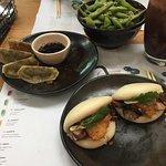 Delicious mushroom hirata buns, yasai gyoza and edamame