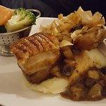 Pork belly pork n leak sausage and pork chop on mash