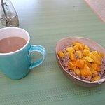 coconut quinoa bowl and a cup of joe