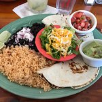 Wonderful grilled swordfish tacos and perfect margaritas!! Welcoming atmosphere and staff.