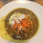 Malaysian sweet potato and carrot laksa and aubergine and halloumi strudel.