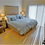 The Beach Bungalow has a king size bed and access to rear patio.