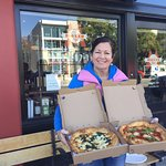 Trish with the fantastic pizzas from Mozza