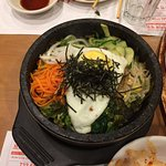 Bob Dol Bab (in Stone Pot, vegetables, fried beef and egg, hot and spicy)