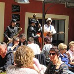 outdoor seating with live music