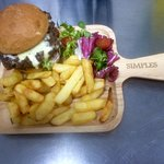 Our gourmet burger, with chips and side salad,