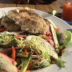 Mixed Green Salad with Rock Cod