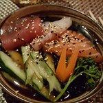 Antipasto di sashimi con brodo freddo!