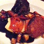 Roja braised ox cheek, ox tail fritters, horseradish mash, salt baked carrots and celeriac,