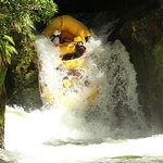 Going down the biggest waterfall for commercial rafting