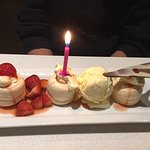 This the pavlova desert. The kindly placed the candle in there as it was my Mums birthday.