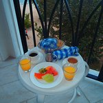 room service, breakfast first day out on the balcony. corner suite great view. every room has a