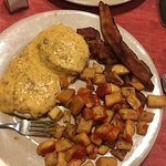 Lil biscuit and chorizo gravy plus a side of bacon (3 strips) and the potatoes were good!