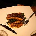Crispy Salmon Fingerling Potatoes, Asparagus, Mustard Beurre Blanc.