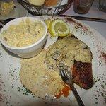 Blackend Redfish with crawfish & mushroom cream sauce