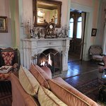 Great Fireplace room to sit by the fire in the evening!