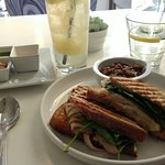 Brixby & Ball sandwich w/lentl salad and pear bubblie at Lockwood Table Diner
