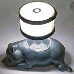Pewter Sleeping Pig Lamp